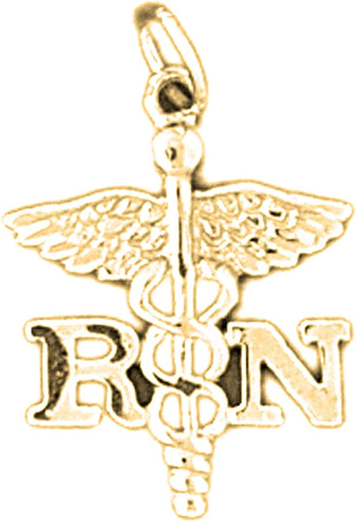 Registered Nurse Pendant 14K Yellow Gold-plated 925 Silver R.N Registered Nurse Pendant Jewels Obsession Silver R.N
