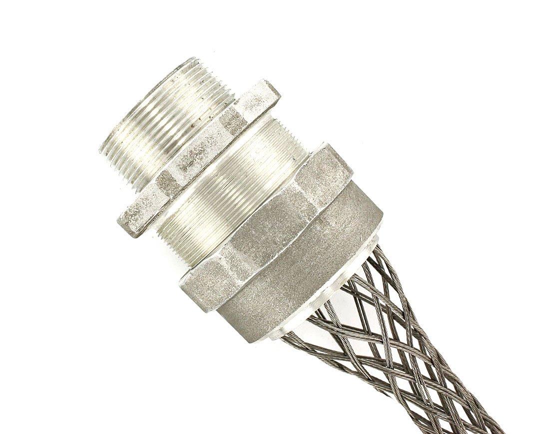 Leviton L7742 2-1/2-Inch, Straight, Male, Aluminum Body, Deluxe Cord Sealing Strain-Relief, 1.937, 2.062 Cord Range