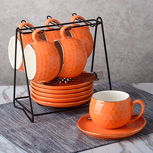 (YORODA Coffee Cup and Saucer Set With Spoon and Bracket, Set of 6 Ceramics Tea Cup with Gold Trim(Orange))