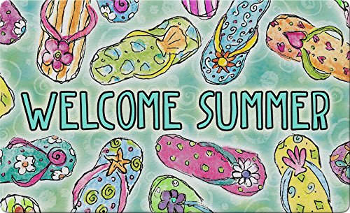 (Toland Home Garden Welcome Summer Sandals 18 x 30 Inch Decorative Colorful Floor Mat Flip Flop)