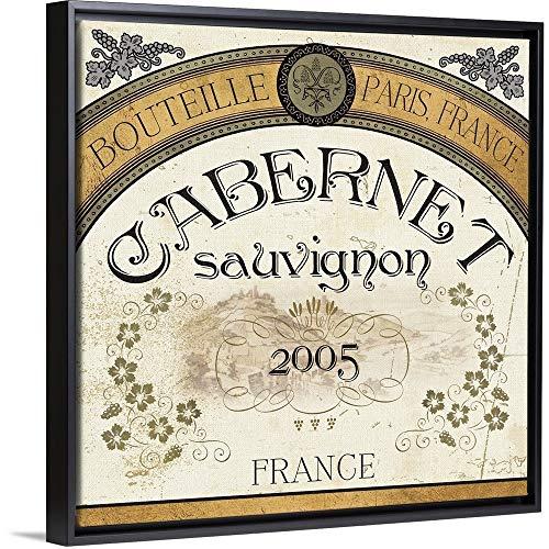 Wine Labels I Black Floating Frame Canvas Art, 14