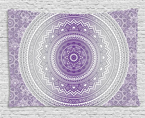 - Ambesonne Grey and Purple Tapestry, Eastern Traditional of Cosmos Pattern Zen Boho Ombre Mandala Design Print, Wall Hanging for Bedroom Living Room Dorm, 80 W X 60 L Inches, Purple White