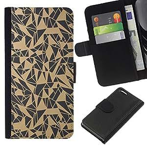 KLONGSHOP // Tirón de la caja Cartera de cuero con ranuras para tarjetas - Patrón del arte abstracto Beige Gris - Apple Iphone 5C //