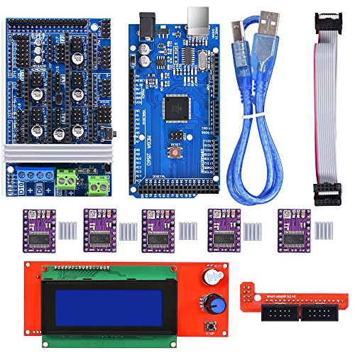 BIQU Mega2560 Control Board + LCD 2004Graphic Smart Display Controller Module + Ramps 1.6 Mega Shield+DRV8825 Stepstick Stepper Motor Driver with Heat Sink for 3D Printer Arduino Reprap by BIQU