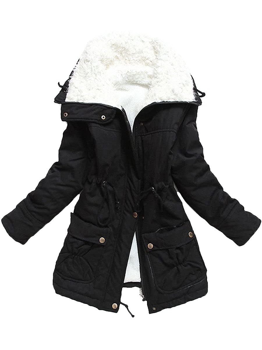 Ecupper Womens Plus Size Coats Shepra Lined Parkas with Faux Fur Drawstring Jackets
