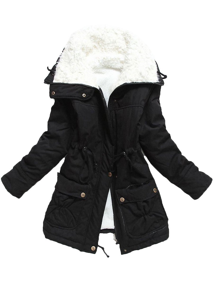 Ecupper Women's Winter Mid Length Thick Warm Faux Lamb Wool Lined Jacket Coat(Black,Tag XL)