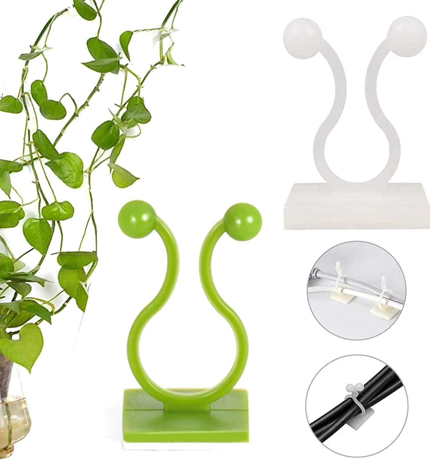 Plant Climbing Wall Fixture Clips, 100 Pcs Invisible Wall Vines Fixture Wall Sticky Hook, Vine Plant Climbing Wall Fixer with Self-Adhesive Hook for Home Decoration, Wire Fixing (Green + White)