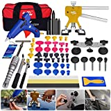 Super PDR 64pcs Car Auto Body Paintless Dent Repair Remover Tool Kit Set for Hail Damage and Door Ding Removal Bridge Dent Puller Lifter kits Hot Melt Glue Gun with Slide Hammer