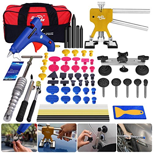 Super PDR 64pcs Car Auto Body Paintless Dent Puller Repair Remover Tool Kit Set for Hail Damage and Door Ding Removal Bridge Dent Puller Lifter kits Hot Melt Glue Gun with Slide Hammer