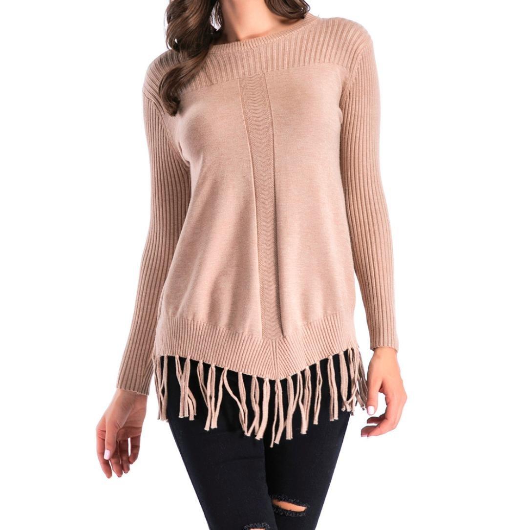 AOJIAN Women's Winter Tassel Long Sleeve Solid Knitted Slim Fit Sweaters Blouse Tops (Beige, M)
