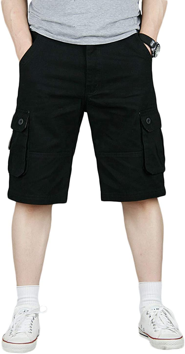 CHARTOU Mens Work Casual Big and Tall Multi-Pockets Cotton Twill Shorts