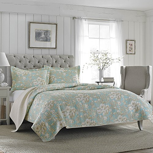 (Laura Ashley Brompton Serene Reversible Quilt Set, King)