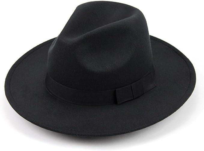 OULII Sombrero clásico de Lana estructurada Unisex Fedora Sombrero Solar Sombrero de Vaquero para Hombres Mujeres (Negro)