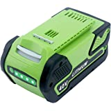 Elefly 6000mAh 40V Lithium Battery Replacement for GreenWorks 40V Battery 29472 29462, Compatible with GreenWorks 40V G…