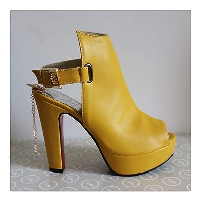 bde62ff67d5 Amazon.com: Shoes Women High Heels Pumps Spring Peep Toe Gladiator Shoes  Female Chains Sequined High Heels Platform Shoes Yellow 43 Yellow 9: Shoes