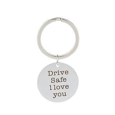 AmDxD Acero Inoxidable Llavero de Hombre Drive Safe I Love ...