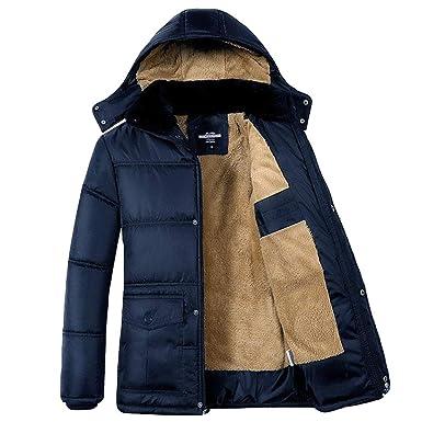 Yaer Chaqueta de Invierno para Hombre, Espesar Felpa Calentar Impermeable A Prueba de Viento Abrigo Encapuchado Outwear M-5XL