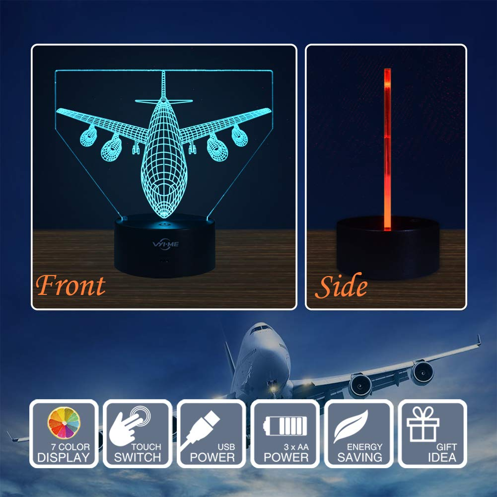 LED Visual 3D Lamp, Aircraft Illusion Night Light for Nursery Bedroom Desk Table Decoration, Creative Festival Birthday Day Children Gift (Aircraft 1)
