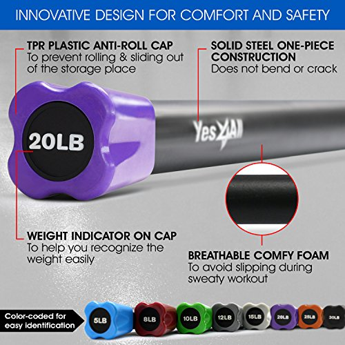 Yes4All Total Body Workout Weighted Bar/Weighted Workout Bar - Great for Physical Therapy, Aerobics and Yoga - Weighted Exercise Bar (20 lbs) by Yes4All (Image #2)