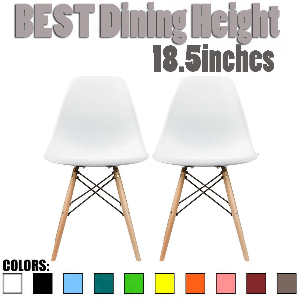 2xhome Set of 2 White Mid Century Modern Contemporary Vintage White Molded Shell Designer Side Plastic Eiffel Chairs Wood Legs for Dining Room Living Office Conference DSW Desk Kitchen Comfortable