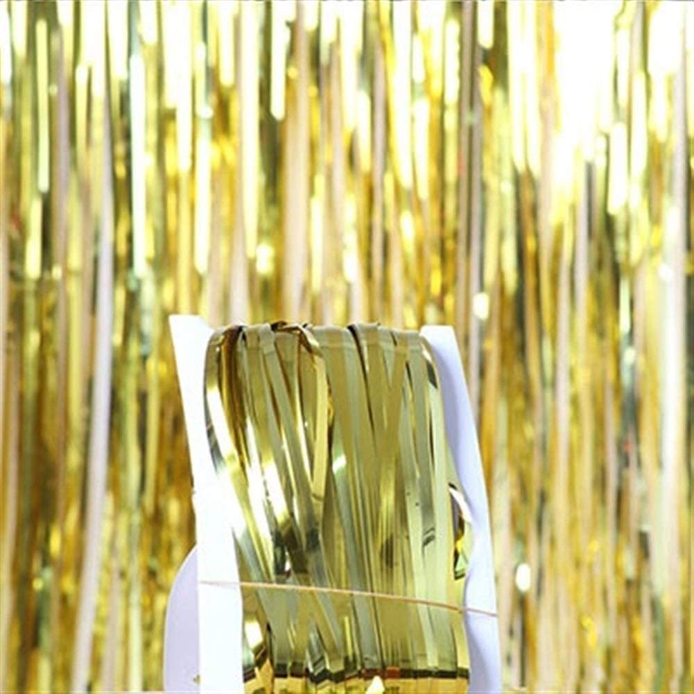 Wedding Party Wall Decoration Photo Booth Backdrop Tinsel Glitter Curtain Gold #