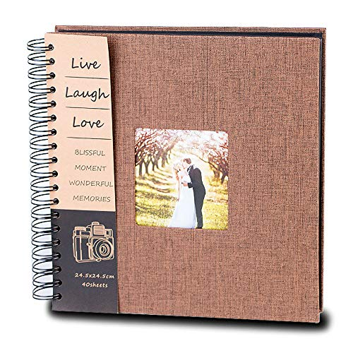 DIY Scrapbook Photo Album 80 Pages Burlap Cover Album Craft Paper Album, 10 x 10 Inches, with Photo Album Storage Box Perfect Gift for Anniversary, Valentines ect! by QanCen