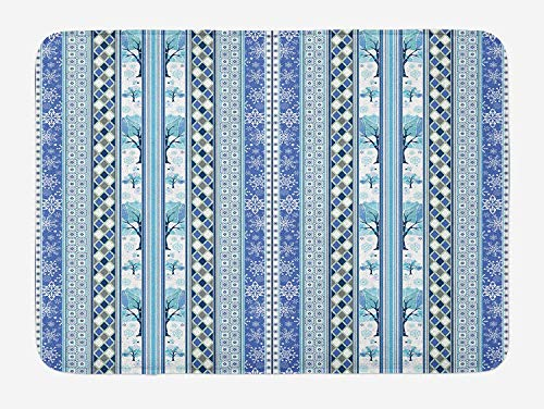 Christmas Bath Mat, Xmas Winter Themed Trees Snowflakes Striped Background Geometric Design, Plush Bathroom Decor Mat with Non Slip Backing, 23.6 W X 15.7 W Inches, Violet and Sky Blue ()