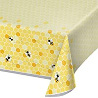 """Creative Converting 340216 Bumblebee Baby Plastic Tablecloth, 54"""" x 102"""", Multi-Color"""
