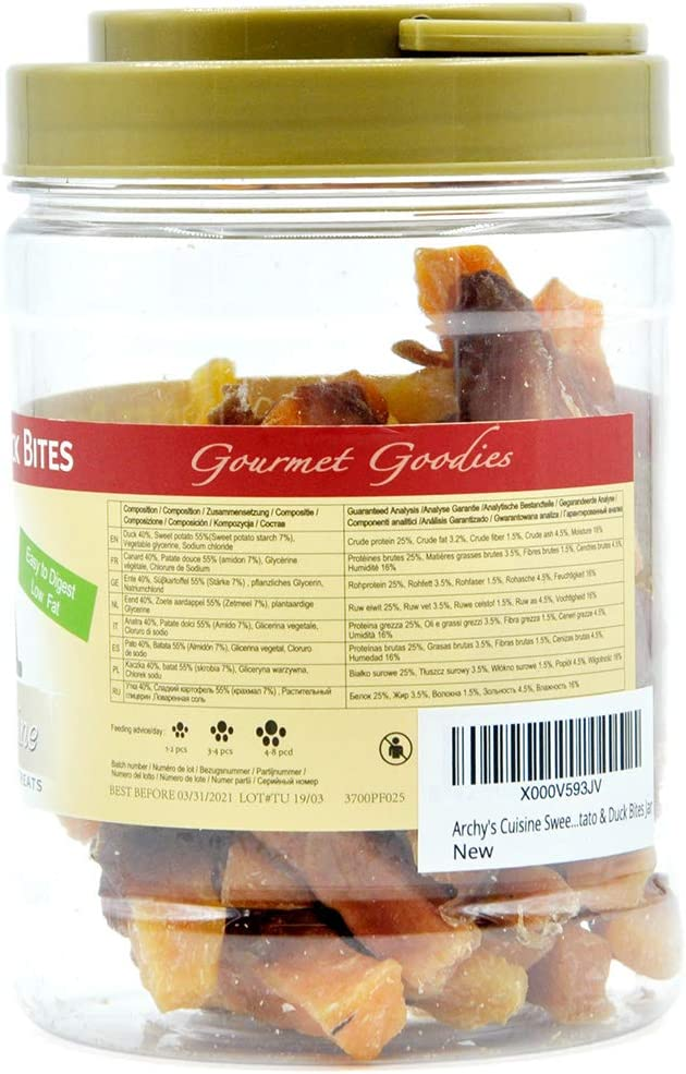 Archys Cuisine - Sweet Potato & Duck Bites Snack para Perros ...