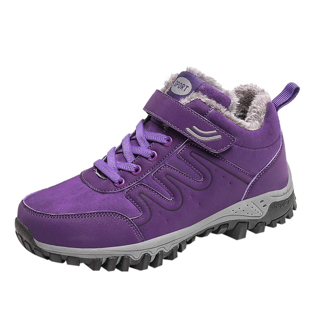 Women Hiking Shoes Trekking Low-top Plus Velvet Non-Slip Outdoor Walking Shoes (US:9, Purple) by Suoxo Women Shoes