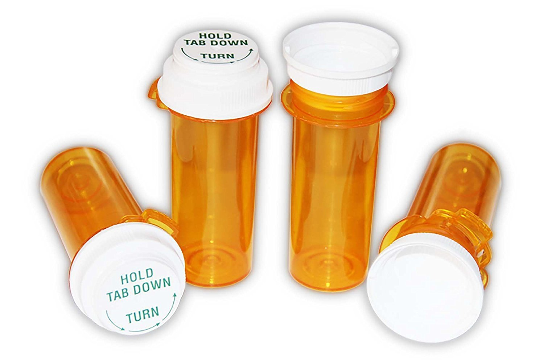 Sponix BioRx Amber Touch Down Prescription Pharmacy Vials - 16 Dram - Push Down Caps - Reversible Caps - Pack of 24 (Medicine & Pill Container, Pharmacy Bottle, Pharmacy Container, Plastic Container)