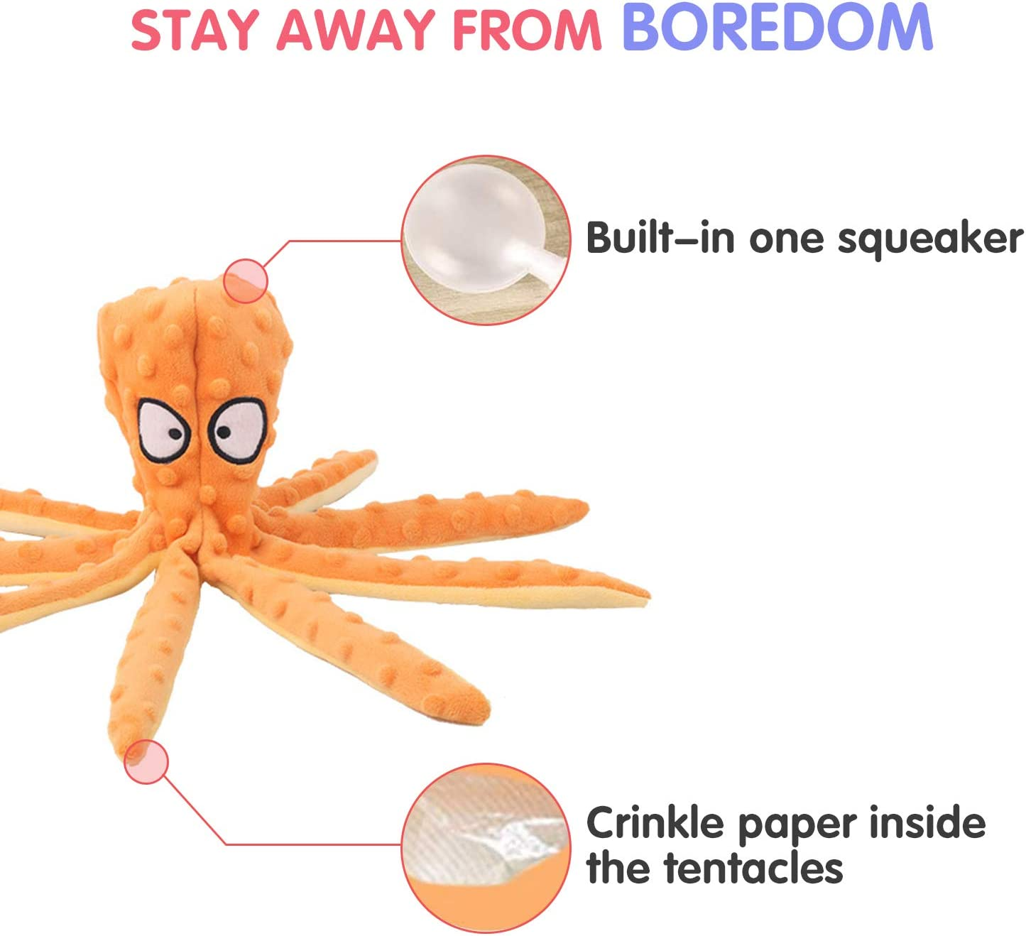 for Puppy and Medium Dogs - 2 Pack, 32cm JINYJIA Plush Dog Toys Octopus No Stuffing Dog Chew Toy Set Sound Paper and Squeaky