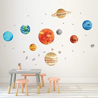 HERRA Nine Planet Wall Decal Wall Sticker, Home Decor 40.9 x12.2inch, Peel and Stick Removable Wall Stickers Wall Mural for Kids Nursery Bedroom Living Room: Kitchen & Dining