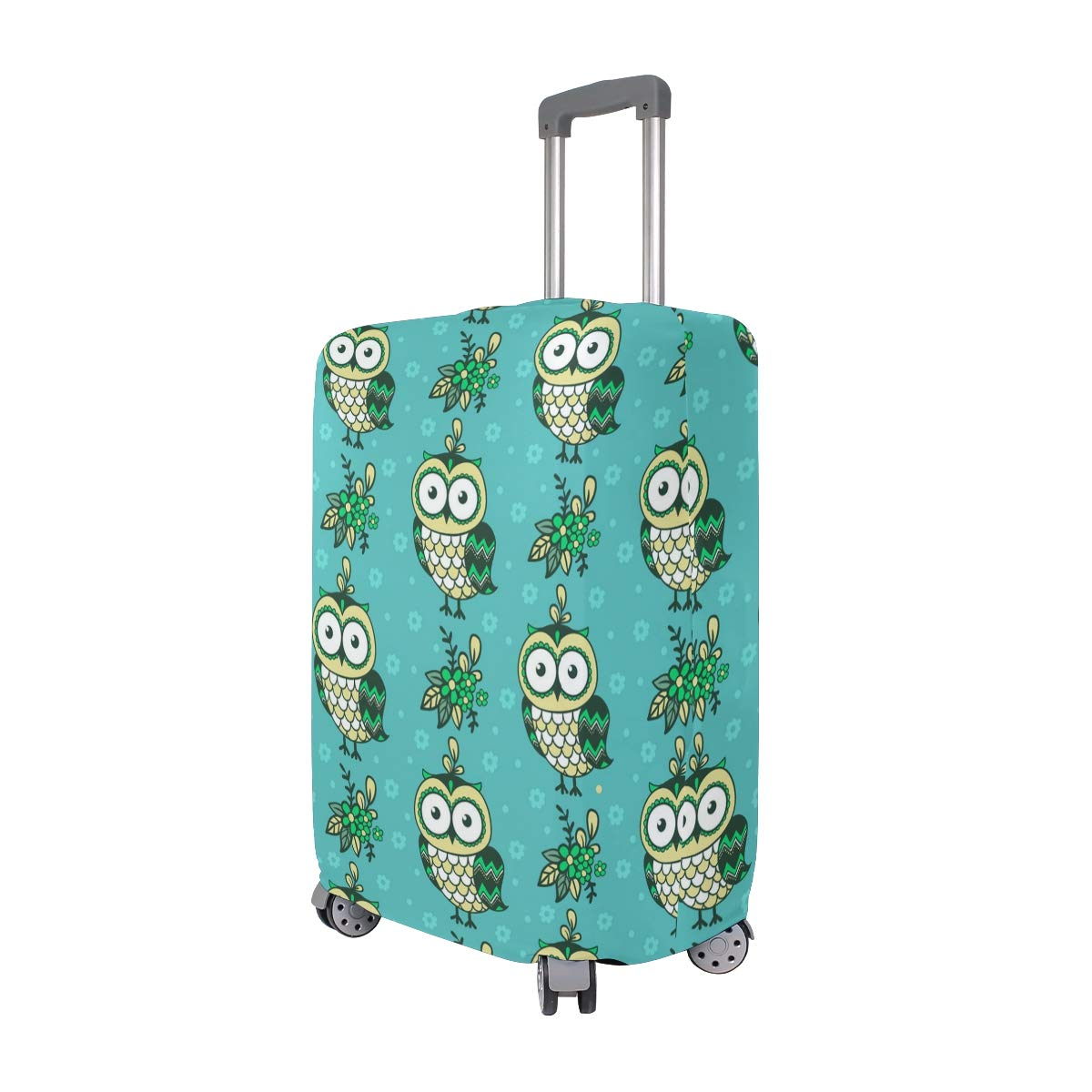 Cute Autumn Owl Decorations Travel Luggage Protector Case Protective Suitcase Cover Elastic Luggage Protector Case Protector,Four Sizes Available