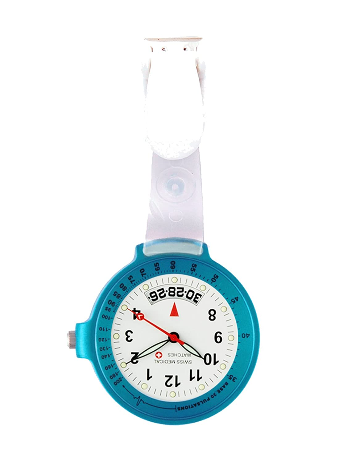 Taschenuhr Swiss Medical Care Line hellblau + Gratis Gravur