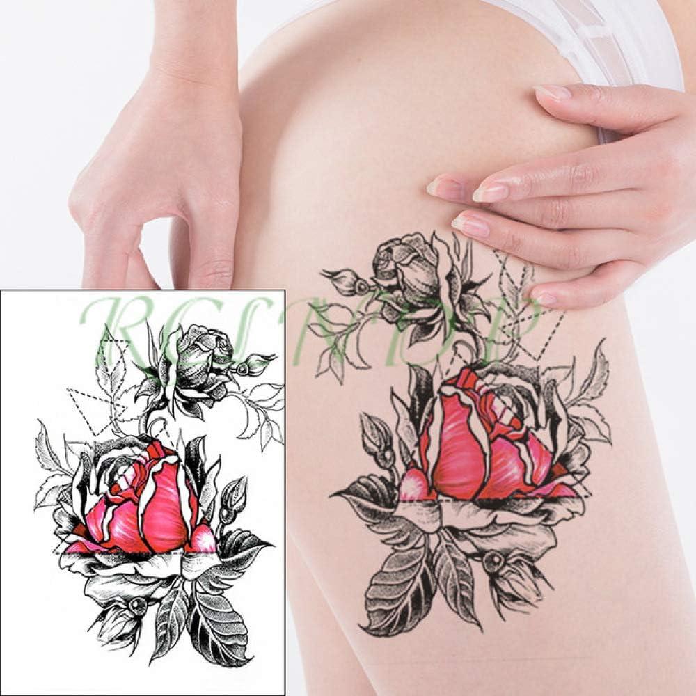 tzxdbh 5Pcs-Waterproof Tattoo Sticker Big Red Rose Leaf Tattoo Big ...