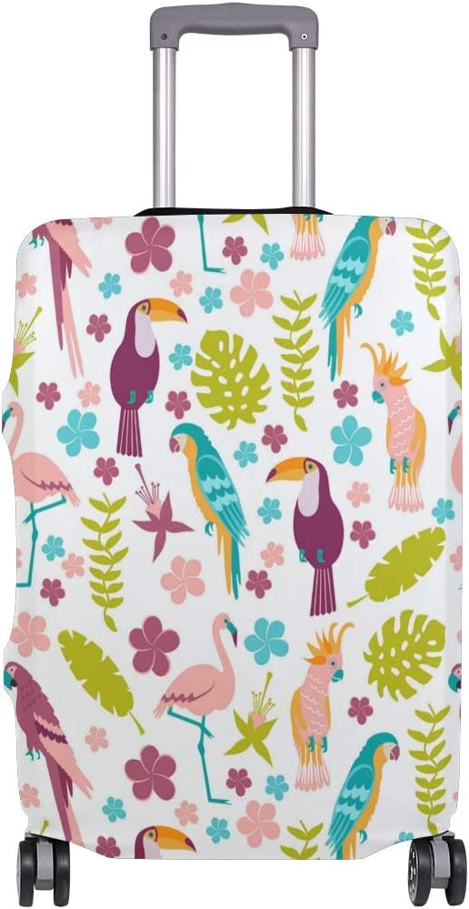 Pink Tropical Leaves Birds Travel Luggage Protector Case Suitcase Protector For Man/&Woman Fits 18-32 Inch Luggage