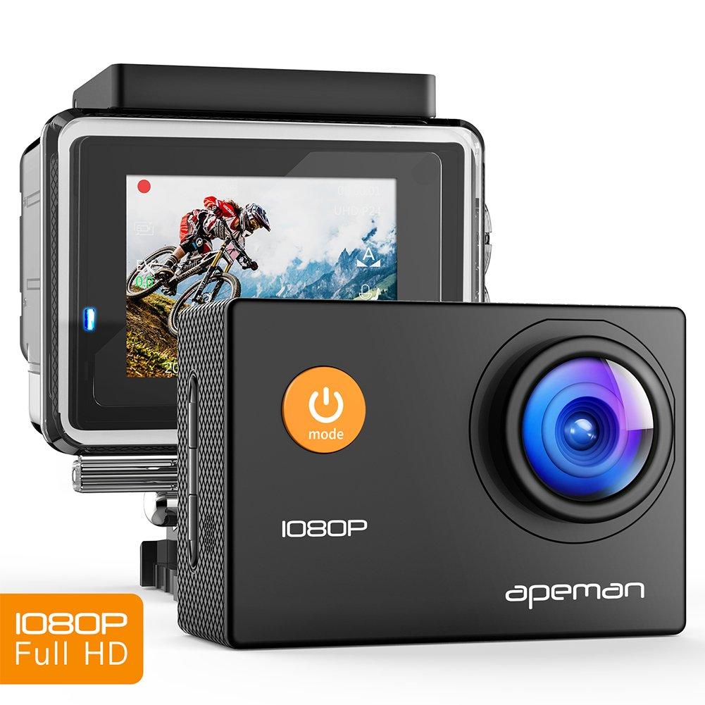 APEMAN Ação Cam Full HD 1080P com câmera impermeável de ação subaquática esporte 170 ° Grande Angular e kit de acessórios para natação ciclística e outros esportes ao ar livre (preto)
