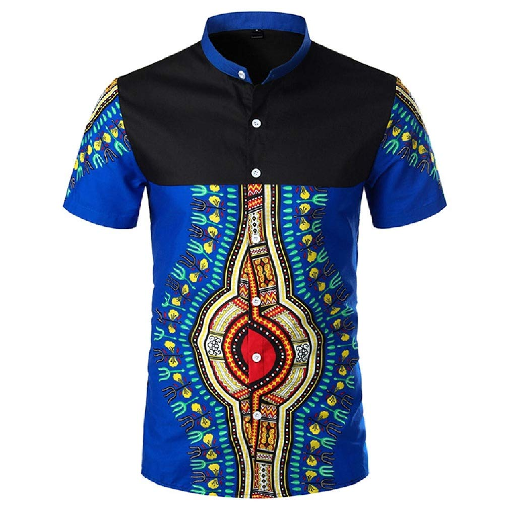 AngelSpace Men Stand up Collar Dashiki Silm Fit Short Sleeve African Style Western Shirt