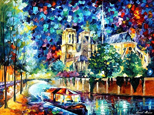 The River Of Paris — Palette Knife Cityscape Seine France Oil Painting On Canvas By Leonid Afremov