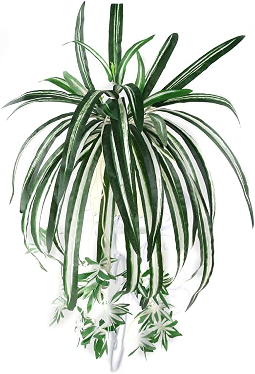 ARTIFICIAL SPIDER PLANT CHLOROPHYTUM COMOSUM FAUX GREENERY HOME DECOR FADDISH