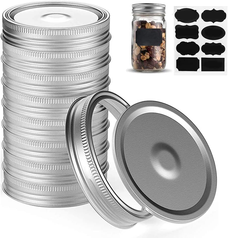 KYYR 12 Sets Canning Lids,Canning Lids Regular Mouth,Lids and Rings for Mason Jars,Split-Type Canning Jar Lids Leak Proof and Secure Mason Jar Rings(70mm),Cr Stainless Steel