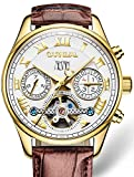 PASOY Carnival Men's Automatic Self-wind Tourbillon Brown Leather Band Gold-plated Case White Dial Watch