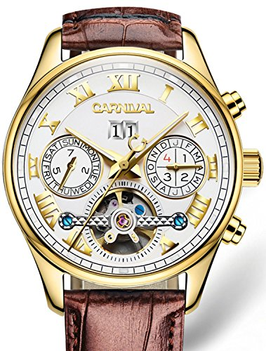 PASOY Carnival Men's Automatic Self-wind Tourbillon Brown Leather Band Gold-plated Case White Dial Watch by PASOY