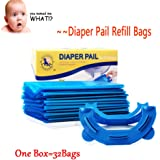 32 Bags 800 Diapers With One Box Seal& Toss Diaper Disposable Refill Bags Perfect With Home Diaper Pail,The Recyclable Ring Reduce Plastic Waste (32 Bags)