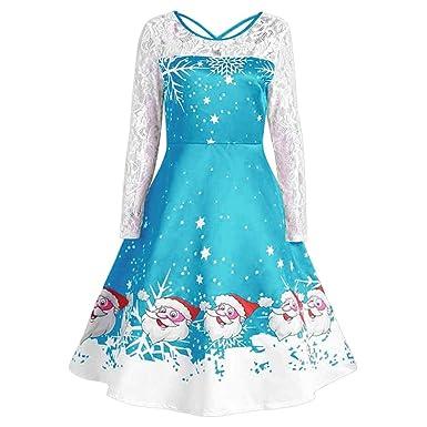 12687c15657b8e ... Spitze Kleid Drucken Langarm Partykleid Hoch Taille A-Linie Röcke  Patchwork Lose Kleid Casual Großer Rundhals Swing Dress: Amazon.de:  Bekleidung