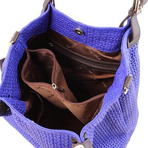 Más Barato Bajo Precio En Línea Tuscany Leather TL KeyLuck Borsa shopping in pelle stampa intrecciata Nero Beige Grandes Ofertas En Línea Barato pGAhUQ85