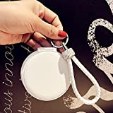 YChoice Cute Baby Toy Mini Round Shape Double-Side Cosmetic Mirror Small Glass Mirrors Crafts Decoration White