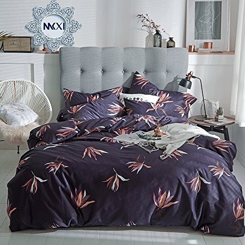 Asian Duvet Cover (MKXI Luxury Floral Duvet Cover Set With Button Closure Egyptian 100% Cotton Purple Bedding Set King Quilt Cover)