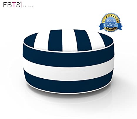 e059b408f53 FBTS Prime Outdoor Inflatable Ottoman Navy and White Stripe Round Patio  Foot Stools and Ottomans Suitable